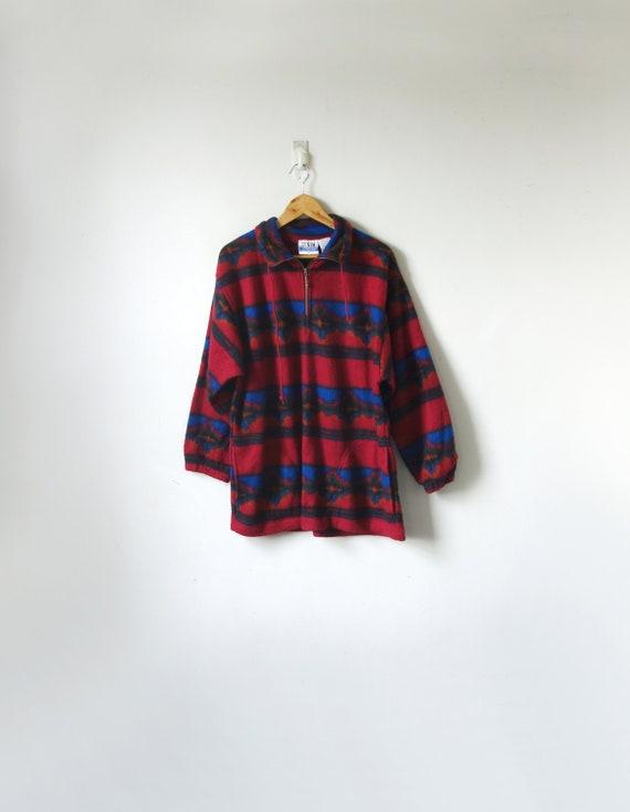 90s Pink & Blue Southwestern Zip-Collar Fleece - 9