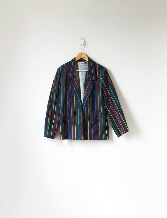 80s Black Candy-Stripe Blazer - Striped Blazer - R