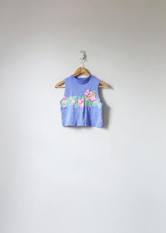 """XXS // 90s """"Ocean Pacific"""" Tropical Hibiscus Cutof"""