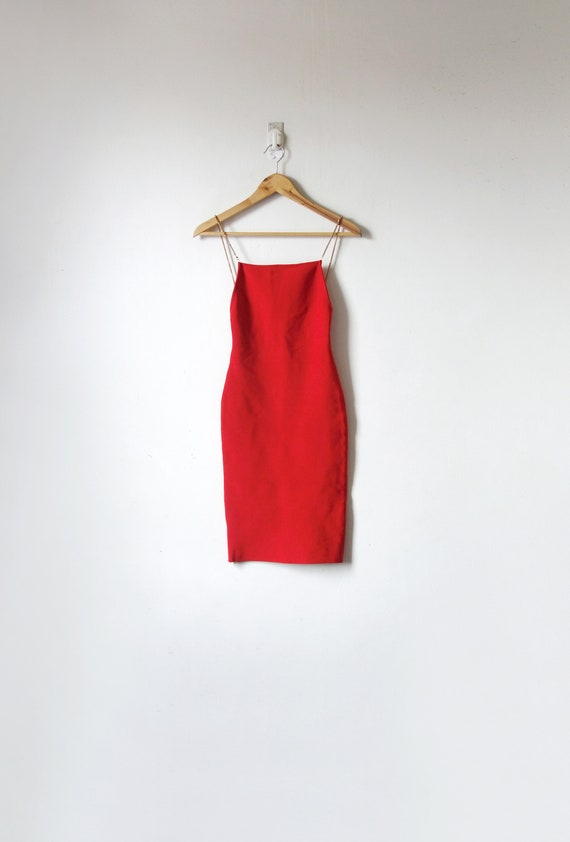 90s Orange-Red Knit Backless Dress - Chain Straps
