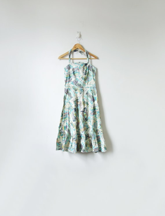 50s Tropical Postcards Halter Sundress - Vintage S