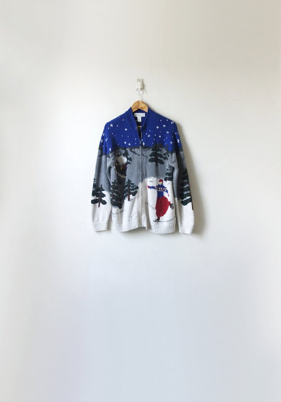 90s Winter Ice Skaters Zip Sweater - Kitschy Holid