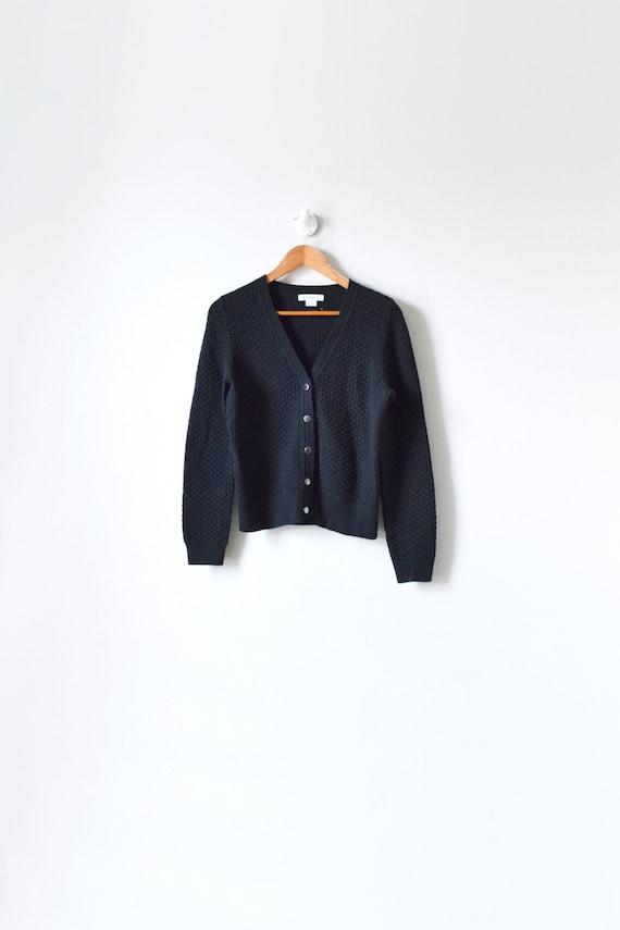 90s Black Nubble-knit Cardigan - Vintage Cardigan