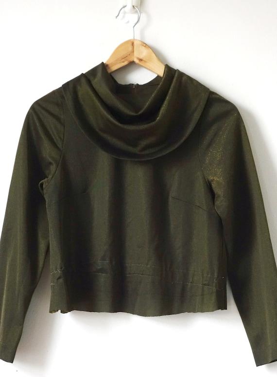 Women/'s S 80s Cowl-Collar Shimmery Bronze Top 80s Disco Clothing 80s Top