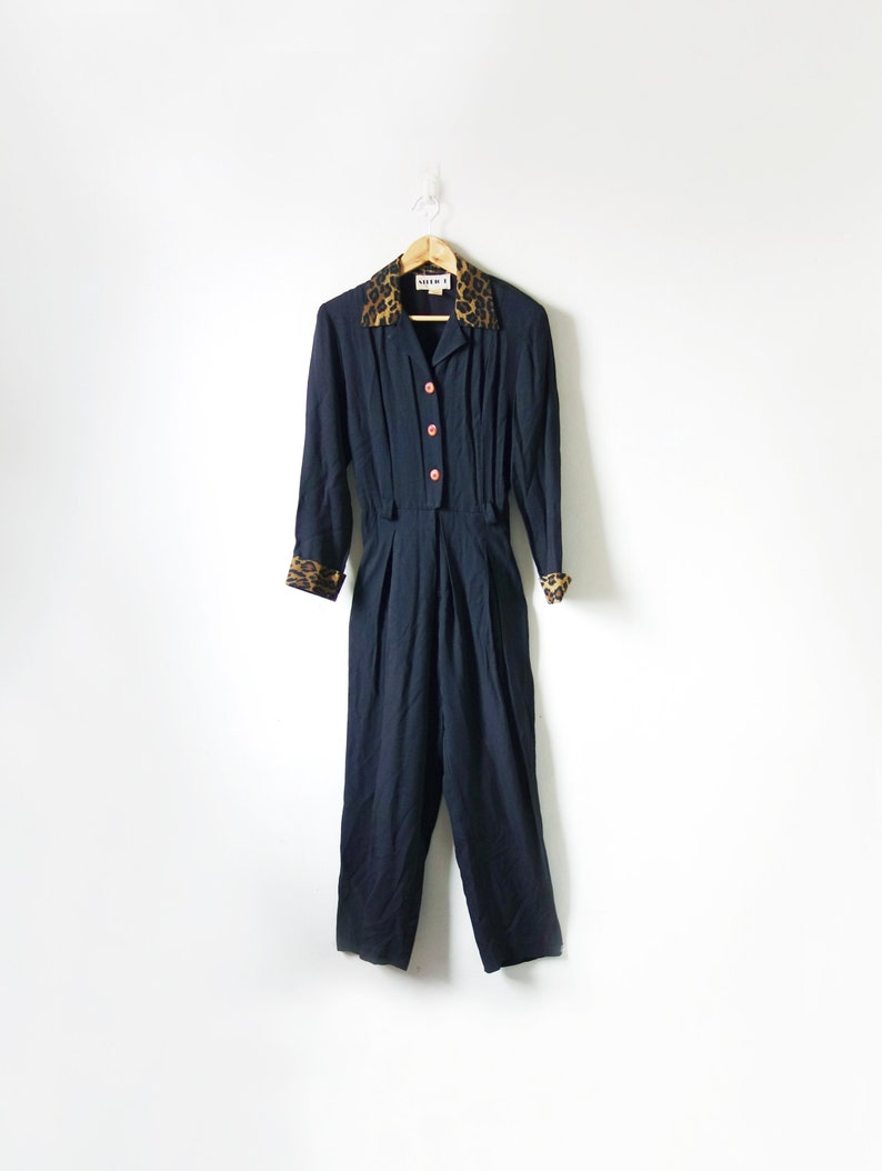Women/'s XSS 80s Jumpsuit XSS  80s Black Jumpsuit with Leopard Print Collar /& Cuffs 80s Romper 26 waist