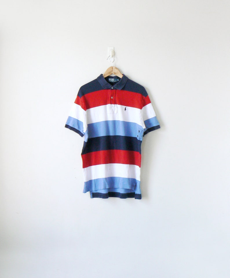 Hip Streetwear Block Xl Vintage 90s Lauren Hop Men's Striped Shirt Ralph Clothing Polo dCBeroEQxW
