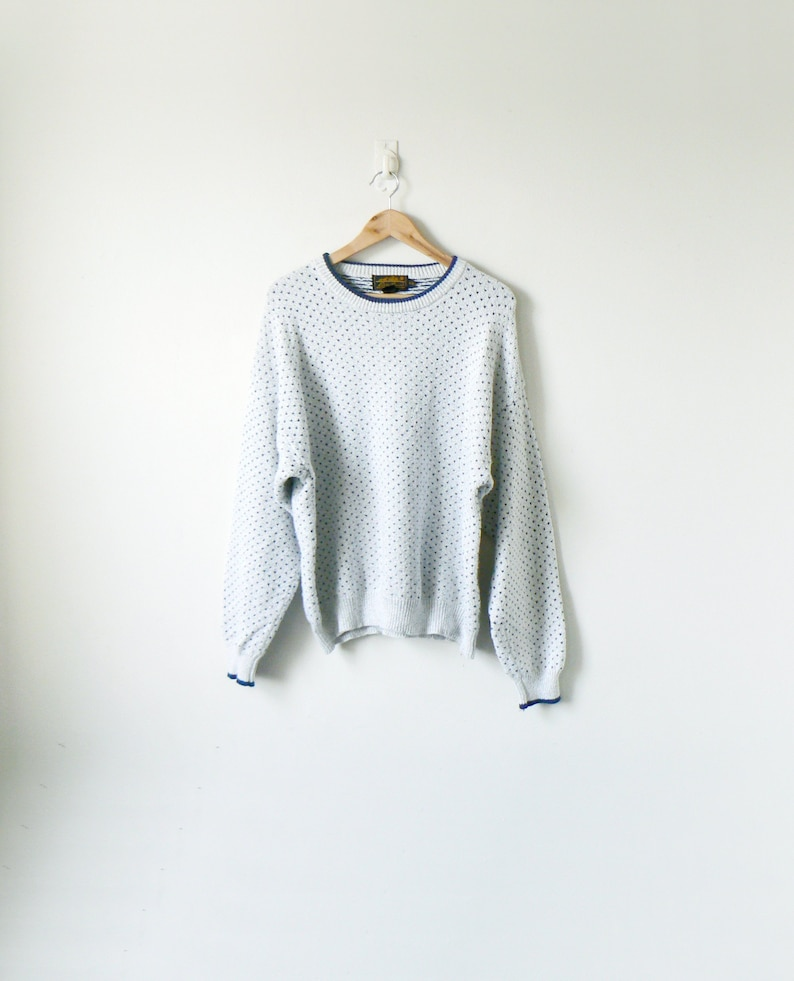 883890754 90s Blue Dots Gray Sweater - 90s Sweater Vintage Sweater 90s Normcore  Clothing - Normcore Sweater Grandpa Sweater Dadcore Sweater - Men's XL