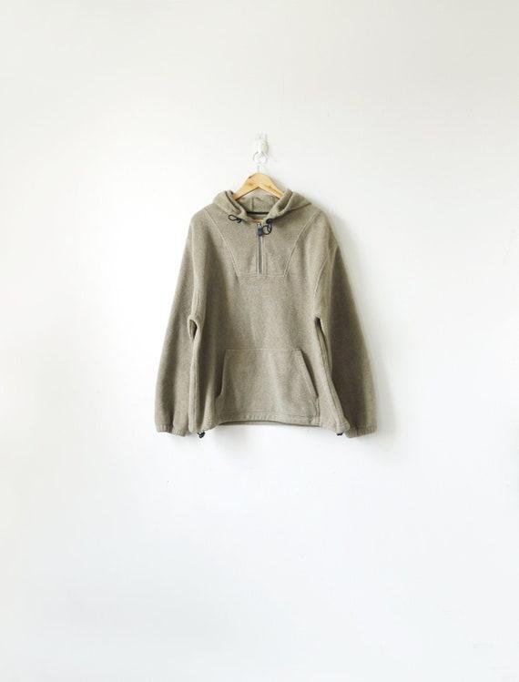 90s Beige Fleece Hoodie - 90s Sweatshirt - 90s Hoo