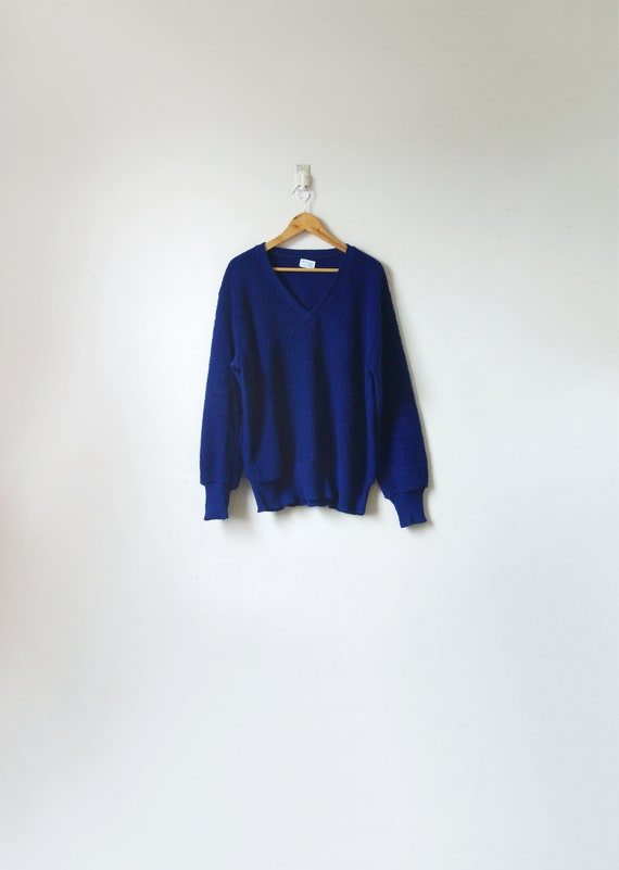 1950s Navy Blue Terry-Knit Sweater - 90s Sweater -