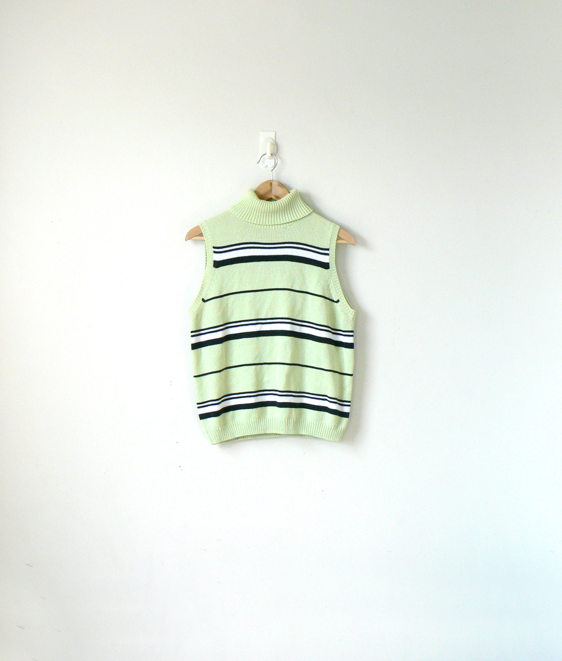 22a64d59726d 90s Pastel Green Striped Turtleneck Sweater 90s Pastel