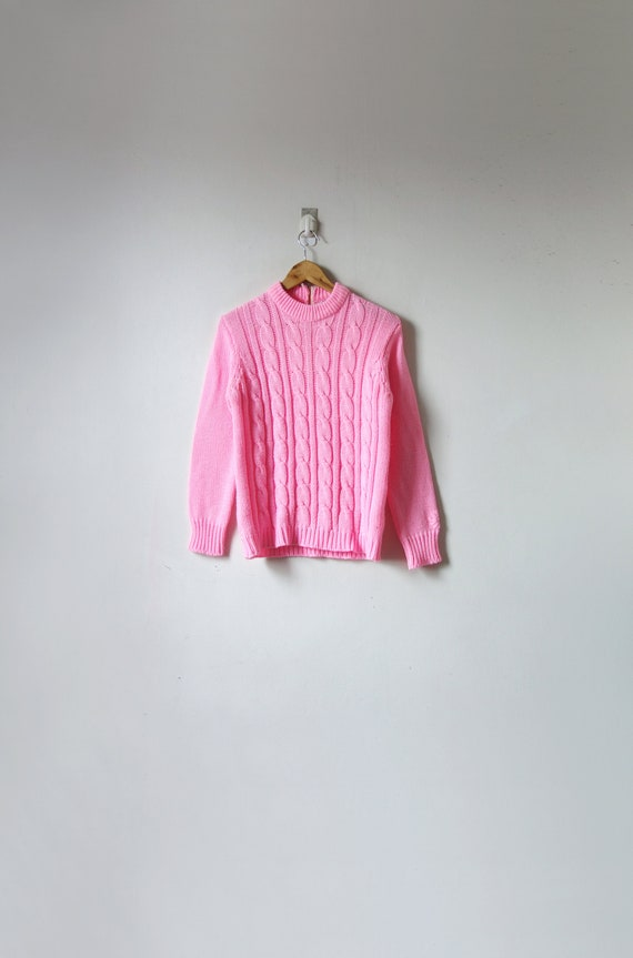 60s Strawberrypink Cable Sweater - Mock Neck - Vin