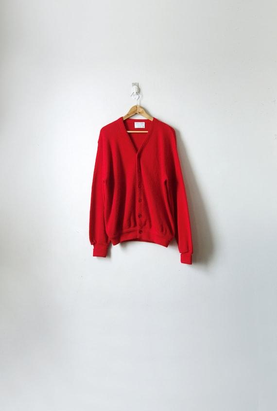 60s Scarlet Red Cardigan - Vintage Cardigan - 1960