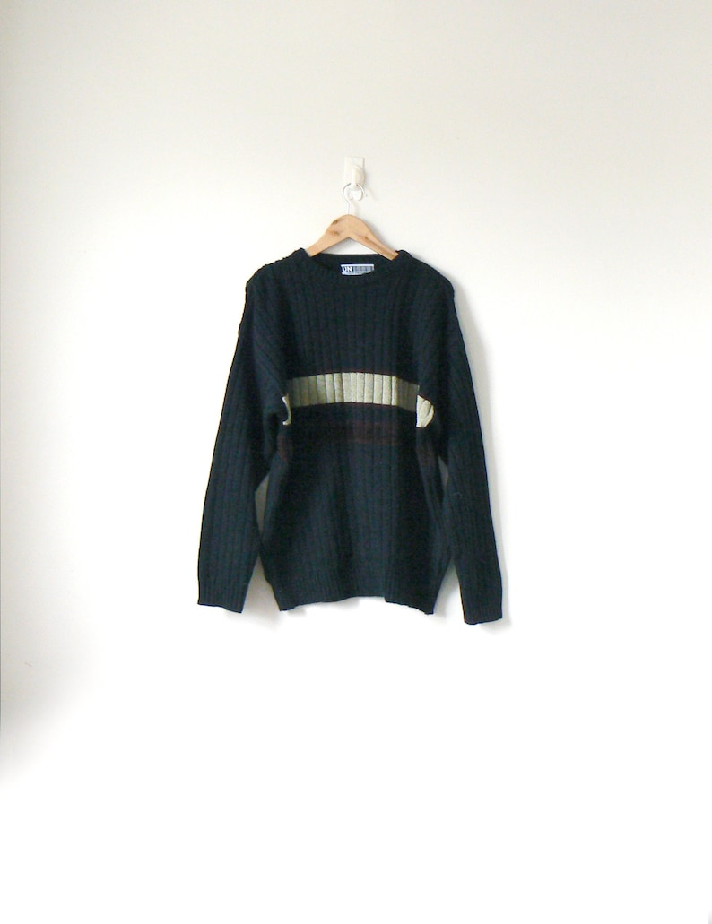 be3d0e18c 90s Black   Beige Block Stripe Sweater 90s Sweater Vintage