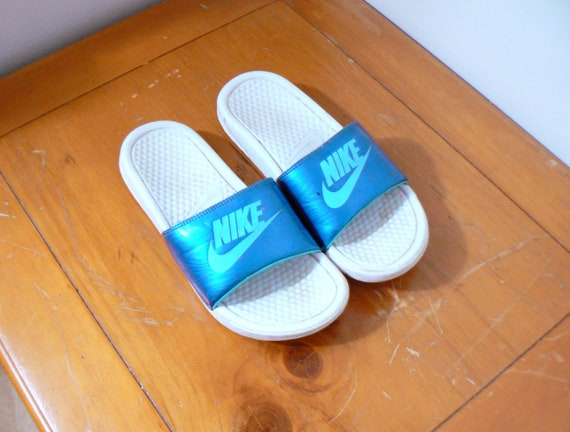 b6b9b77e091 90s Blue   White Nike Slides Vintage Nike Sandals 90s Nike   Etsy