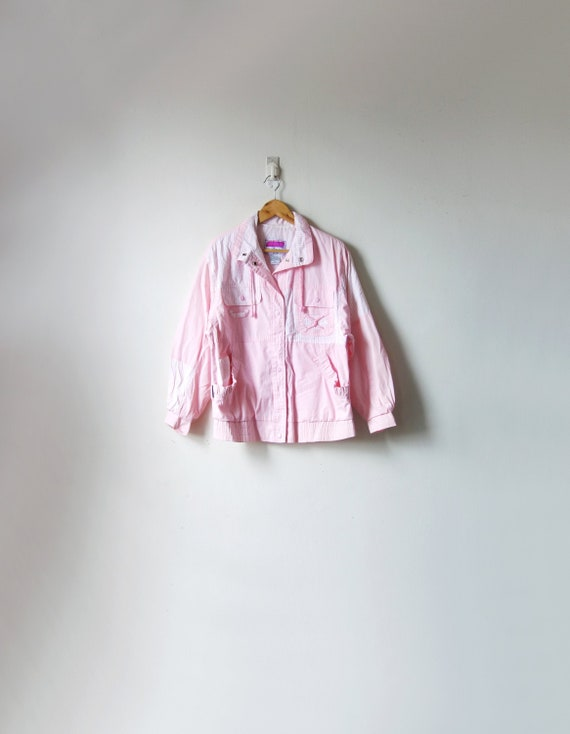 80s Pink & Striped Windbreaker - Pastel Windbreake