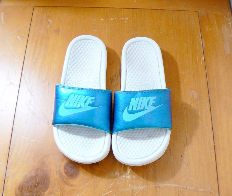 a43eca988e4b35 90s Blue   White Nike Slides Vintage Nike Sandals 90s Nike