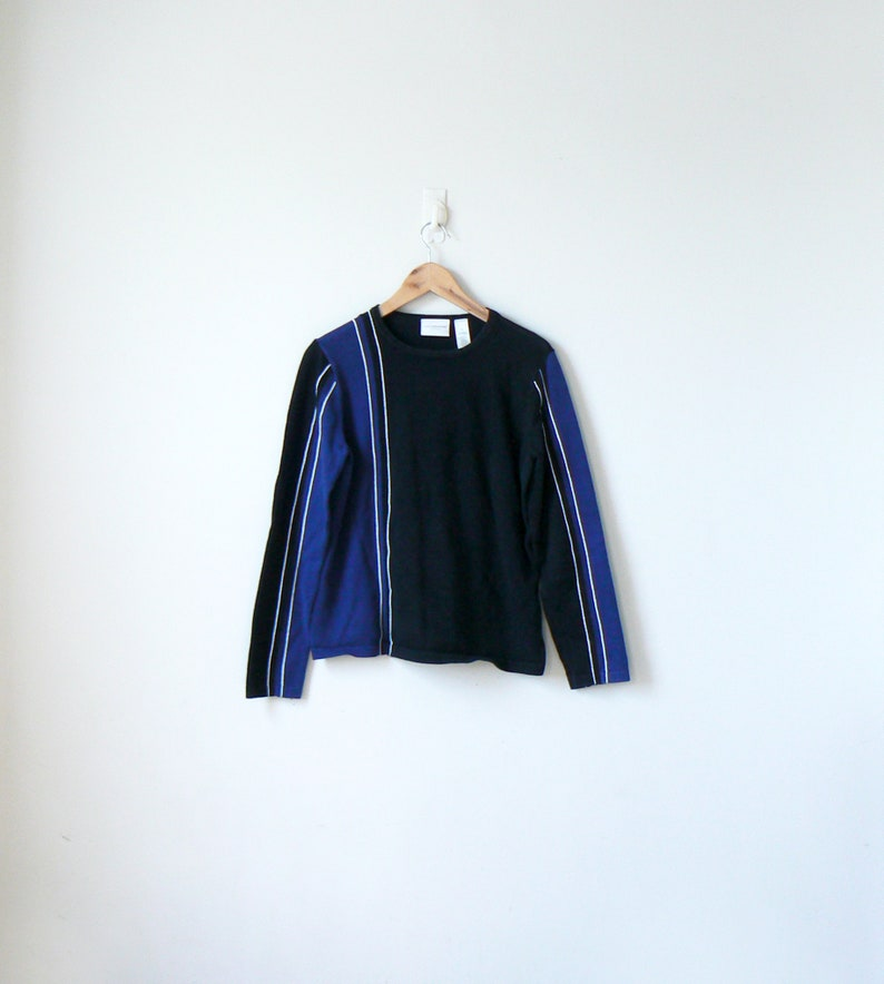 Women/'s M 90s Blue /& Black Asymmetric Block Striped Sweater 90s Sweater Colorblock Sweater Vintage Sweater 90s Clothing