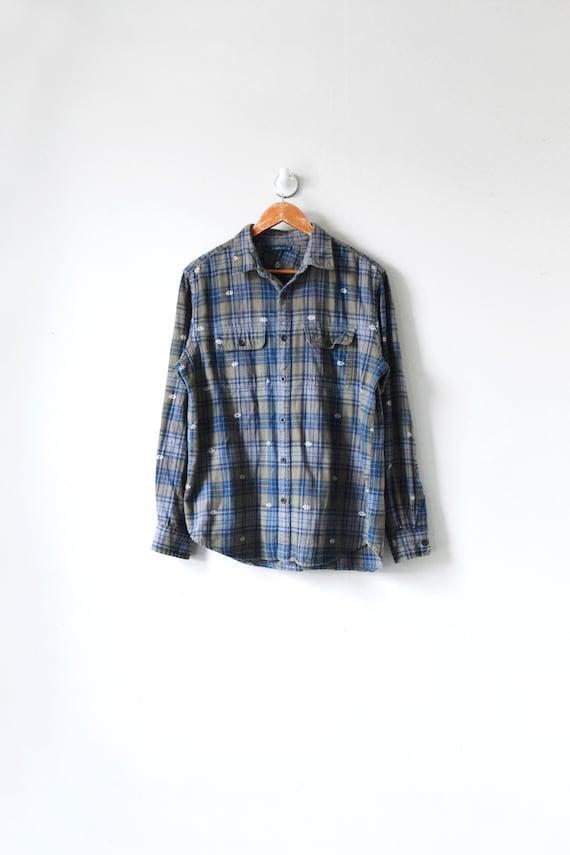 90s Olive Flannel Shirt - Vintage Flannel - Men's
