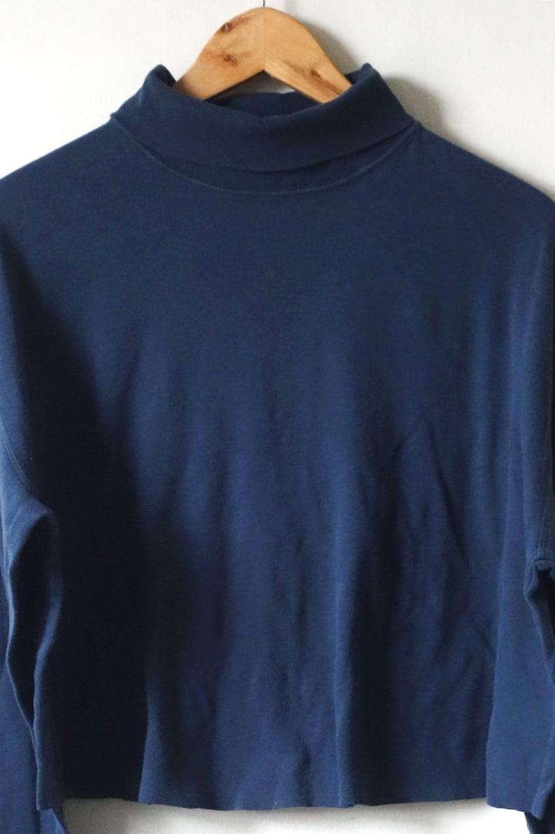 Women/'s 2X 90s Navy Cropped Turtleneck Long Sleeve T-Shirt 90s Skater 90s Crop Top