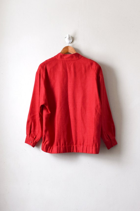 90s Red Woven-Silk Bomber Jacket - Women's M - image 5