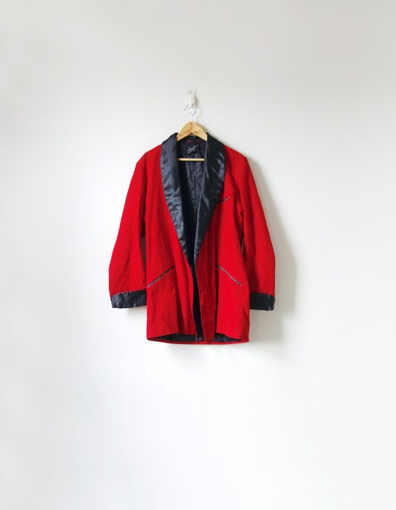 60s Red Corduroy Smoking Jacket - 60s Jacket - 60s