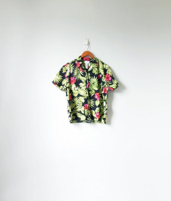 90s Bright Floral Hawaiian Shirt   90s Hawaiian Shirt   90s Skater   Women's L by Etsy