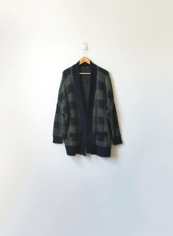 90s Black & Green Plaid Cardigan - Vintage Cardiga