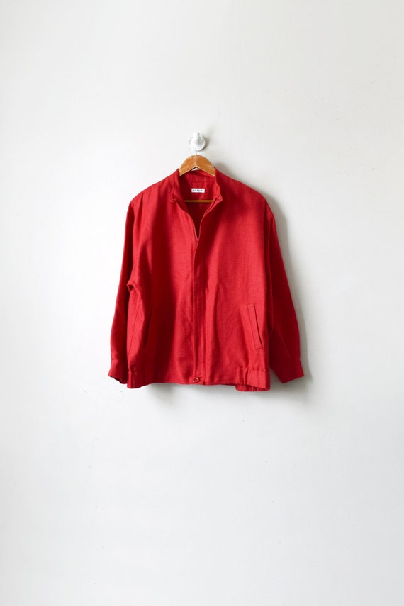 90s Red Woven-Silk Bomber Jacket - Women's M