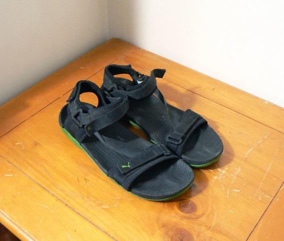 90s Techwear Puma Sandals Green & Black 90s Sandals 90s Shoes 90s Clothing Vintage Techwear Cyber Goth Sandals Men's Size 10