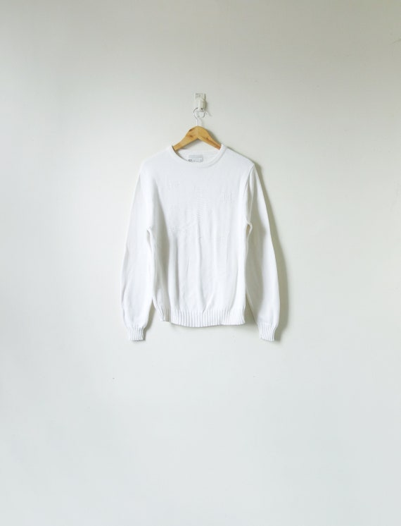 "1960s ""Lord Jeff"" White-on-White Skier Sweater - 6"