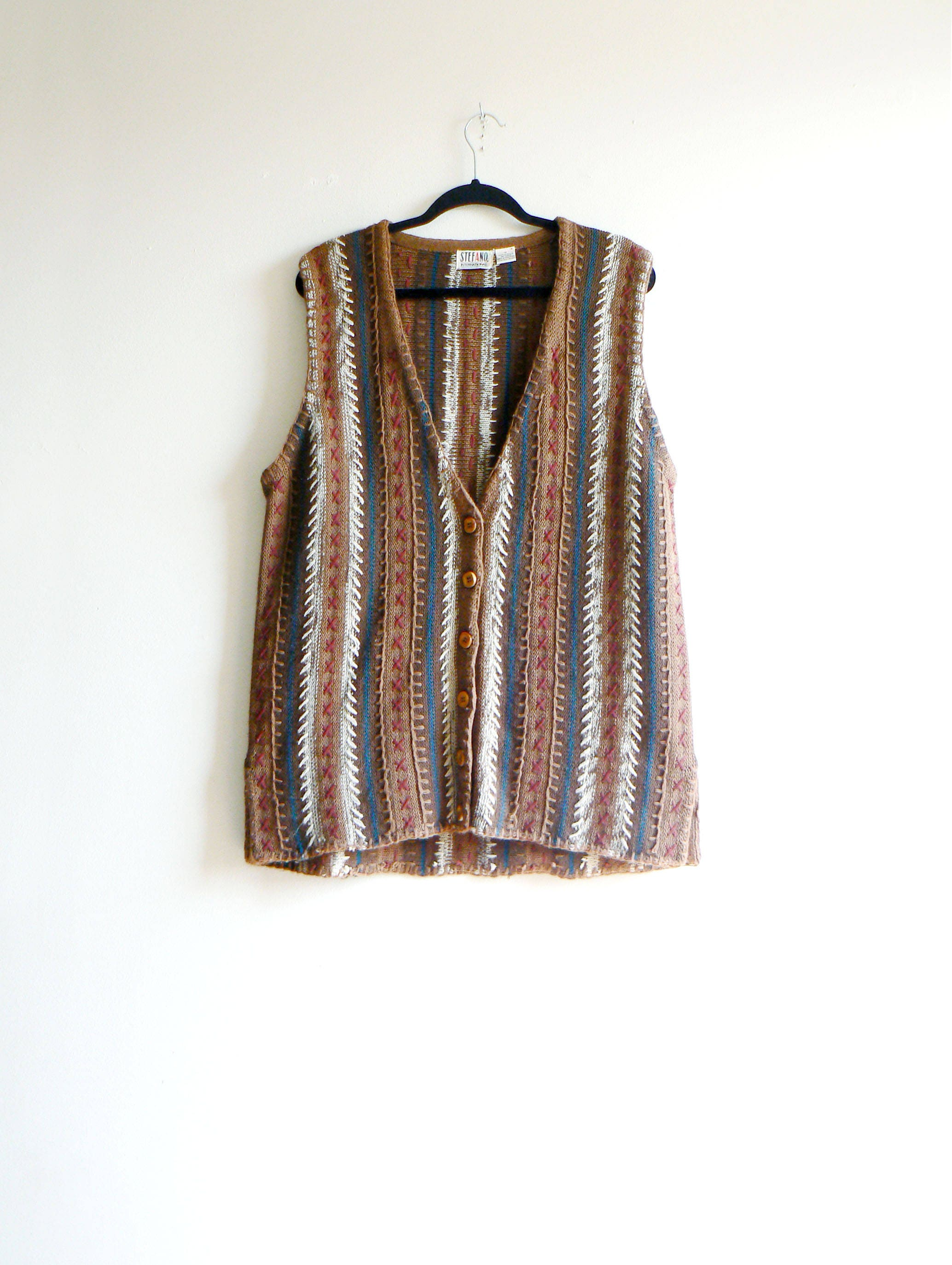 80s Wool Hippie Brown Vest with real pockets UNISEX 0GpTff9jXv