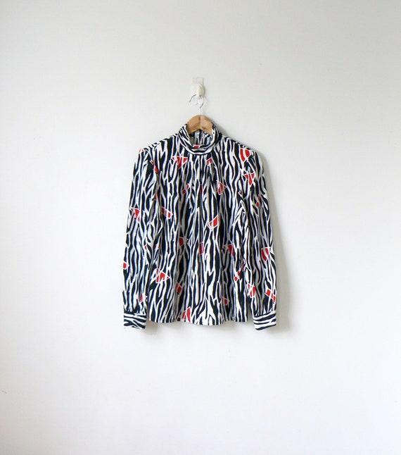 80 s zèbre fou Blouse - 80 s vêtements - années 80 haut - fou Chemise - chemisier zèbre - Zebra Top - zèbre haut - taille femmes 8
