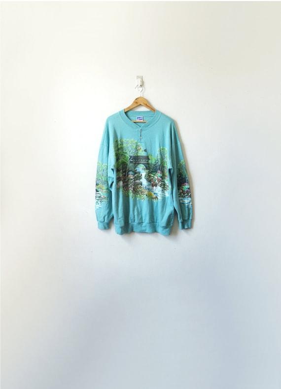 90s Woodland River & Deer Sweatshirt - Kitschy Vin