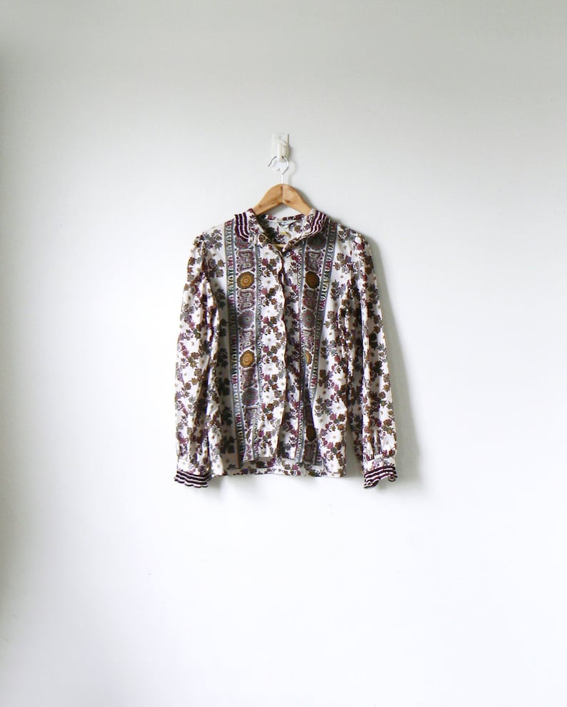 70s Hippie Clothing 70s Top Women/'s 8 70s Blouse Boho 70s Paisley Patterned Button Down Top 70s Hippie Top 70s Boho Clothing