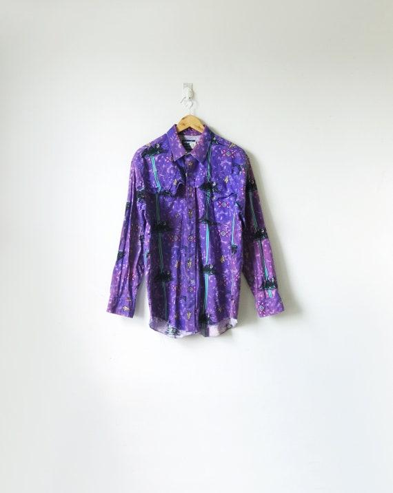 90s Wrangler Purple & Teal Western Shirt - Vintage