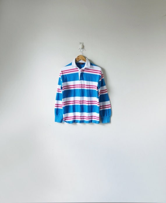 90s Blue & Pink Striped Rugby Shirt - Chaps Ralph