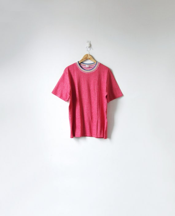 60s / 70s Faded-Red Ribbed T-Shirt with Striped Co