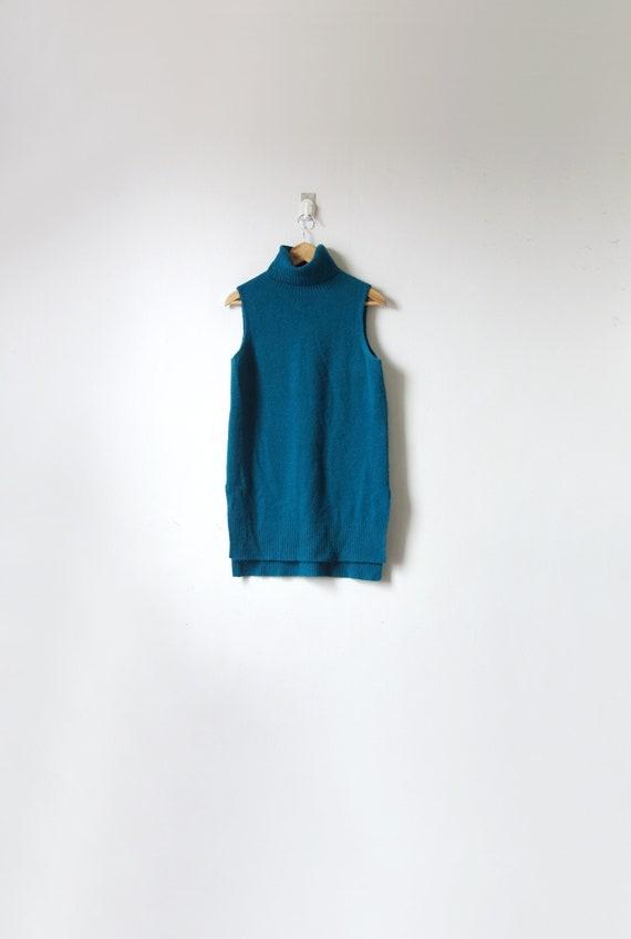 s // 90s Dark Teal Turtleneck Sleeveless Knit Dres