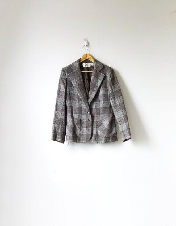 70s Beige & Gray Plaid Wool Blazer - 70s Blazer -