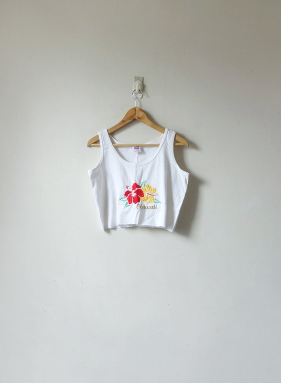"""90s """"Hawaii"""" Hibiscus Flowers Cropped Tank - 90s C"""