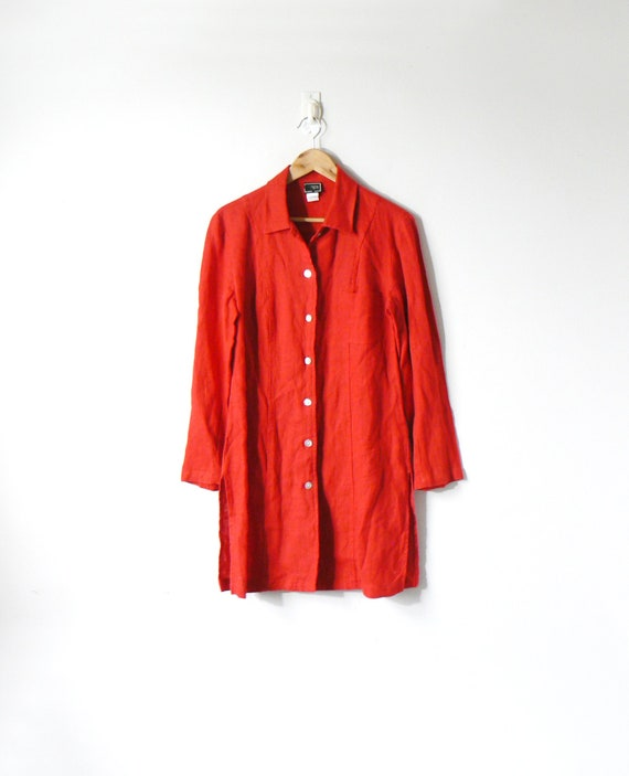 Boho 70s Red Linen Shirt Dress   Collared 70s Dress   Hippie Clothing   Women's M by Etsy