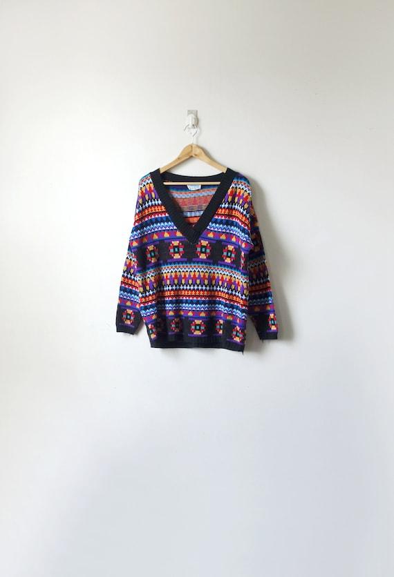 80s Ski Wear Geometrical Sweater - Oversize 80s Sw