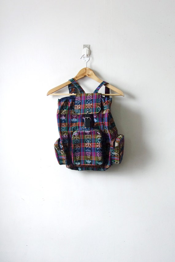 90s Rainbow Plaid Backpack - Vintage Skater Bookba