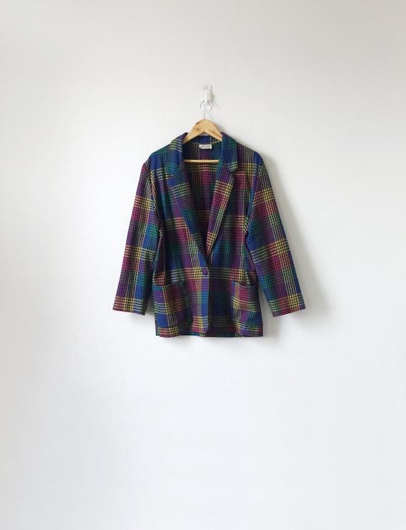 80s Rainbow Plaid Blazer - 80s Jacket - Vintage Bl