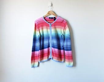 Boho 90s Rainbow Striped Cardigan - Rainbow Sweater - Rainbow Cardigan - 90s Sweater - 90s Cardigan - Boho Sweataer Boho Cardigan -Women's M