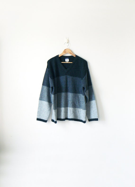 7b8446d81 90s Gray Colorblock Sweater 90s Sweater Vintage Sweater