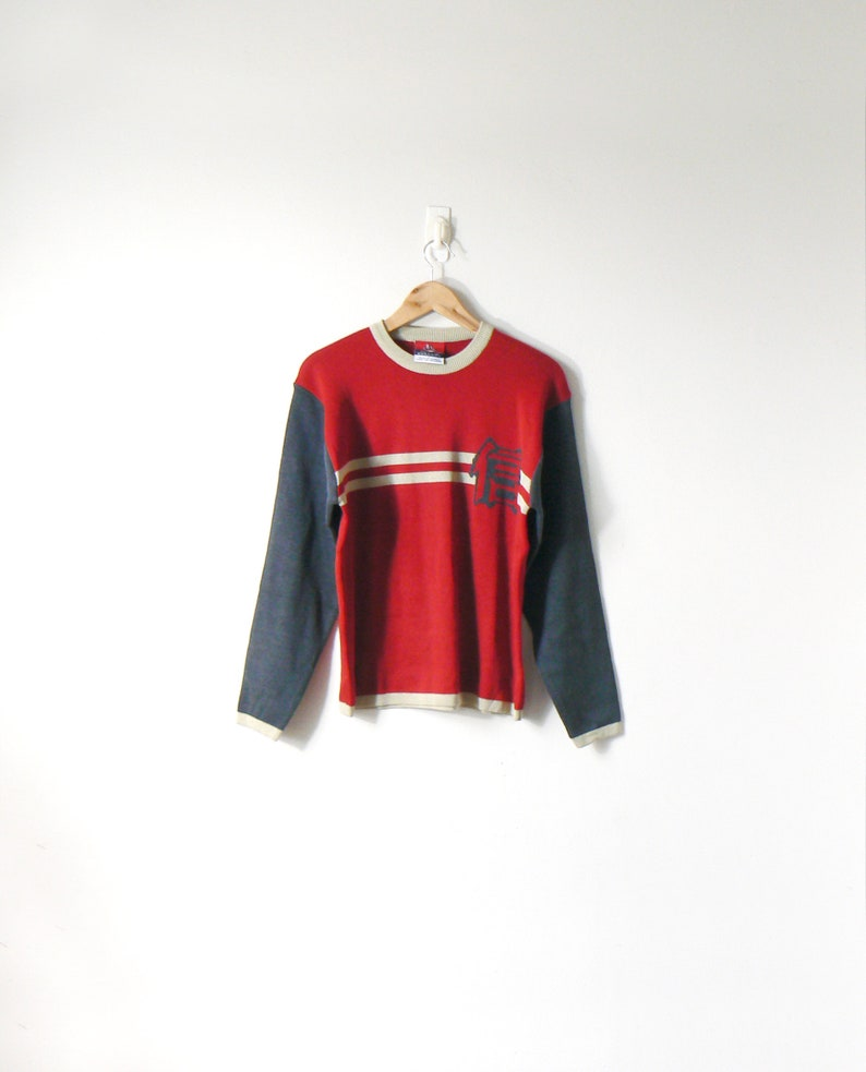 b2bbf124a 90s Japanese Character Colorblock Sweater 90s Sweater Vintage ...