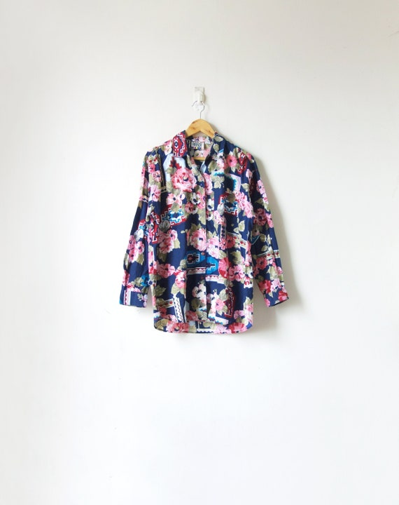 80s Floral Western Button Down - 80s Shirt - Weste