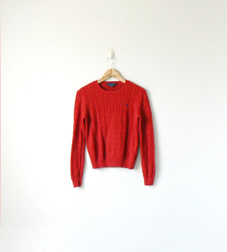 b5f5d5e07 90s Ralph Lauren Red Cable Knit Sweater - 90s Sweater - Ralph Lauren  Sweater - 90s Polo Sweater - 90s Preppy Clothing - Women's M