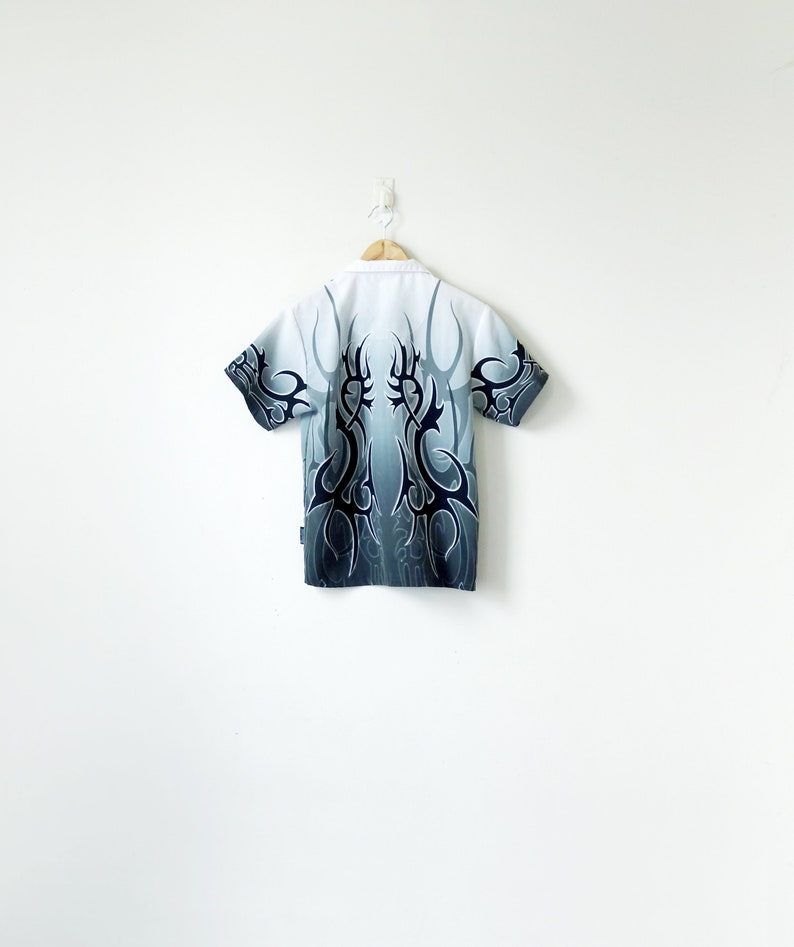 Flame Shirt 90s Grayscale Flame Print Button Down 90s Shirt Men/'s S